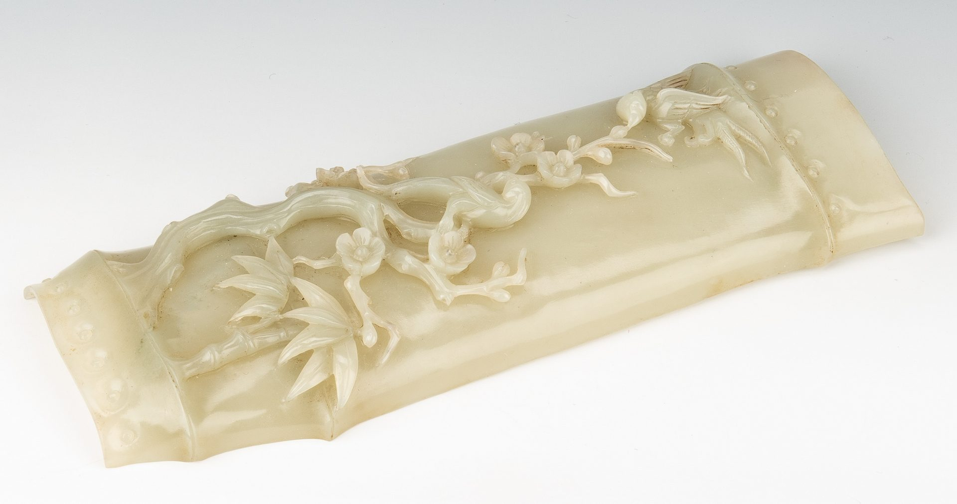 Lot 2: Chinese Scholar Celadon Jade Arm Rest