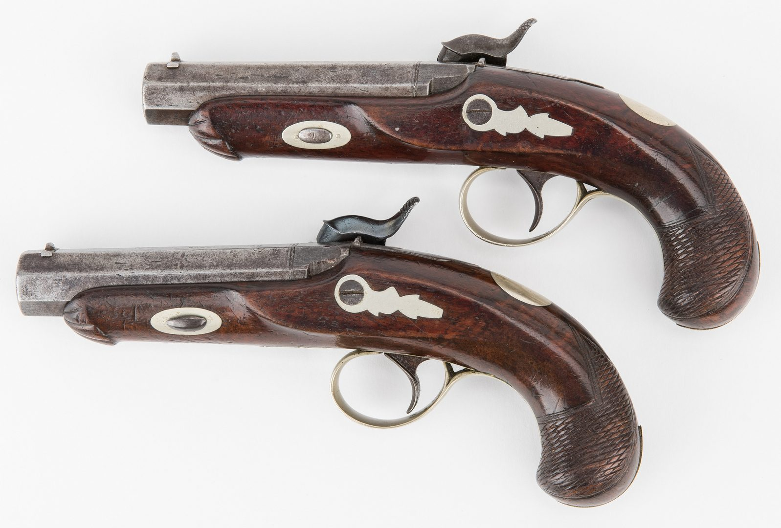 Lot 304: Cased pair of Memphis Made Schneider & Company Percussion Derringers, .45 cal