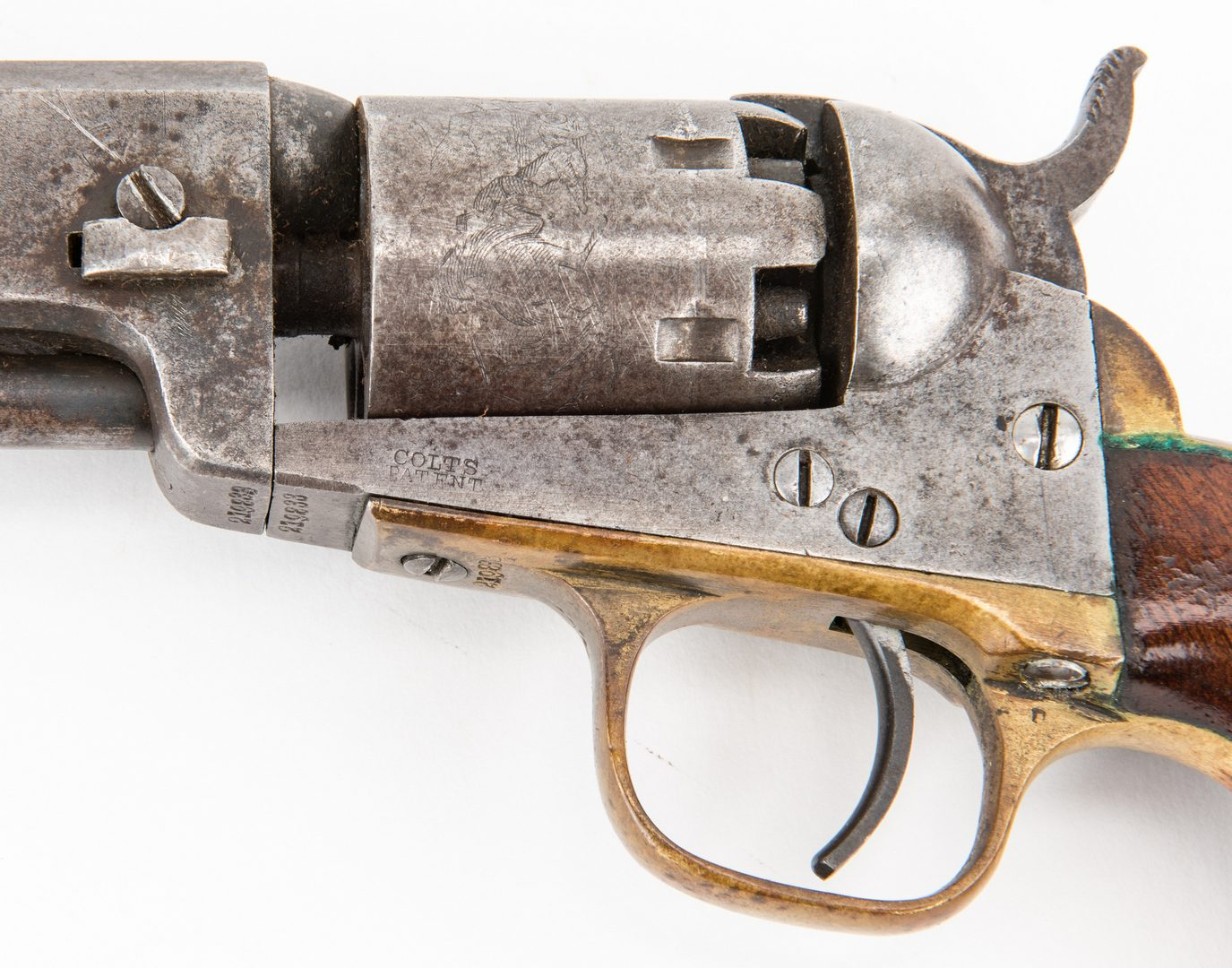 Lot 314: Civil War era Colt Model 1849 Pocket Revolver, .31 cal, and Holster