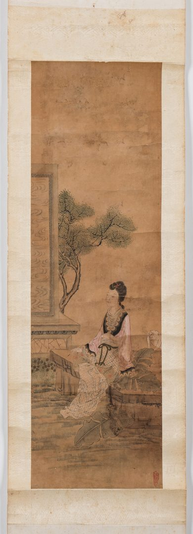 Lot 31: Chinese Scroll, Courtesan, Qing Dynasty