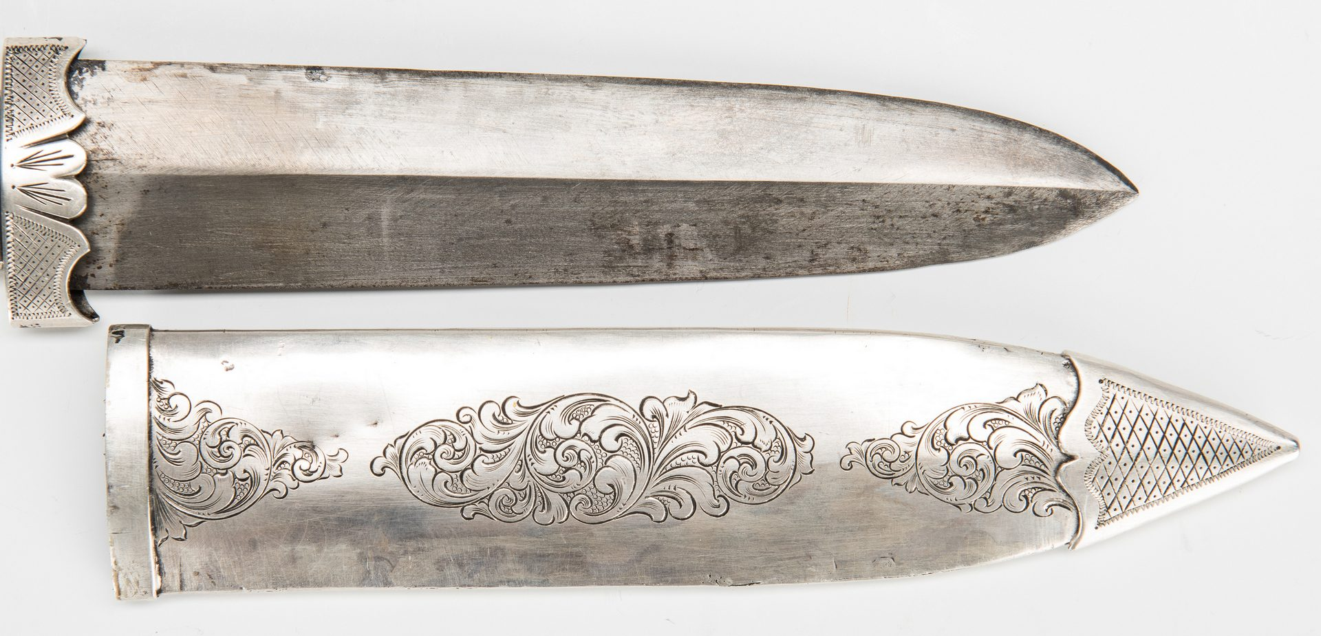 Lot 332: East Tennessee Samuel Bell Dagger Point Knife & Silver Scabbard