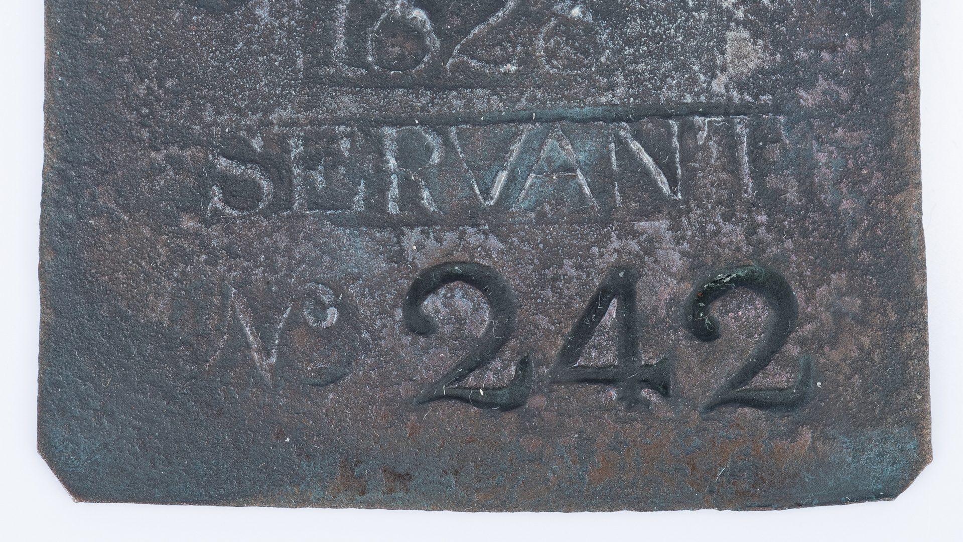 Lot 336: 1828 Charleston Lafar Servant Slave Hire Badge, Number 242