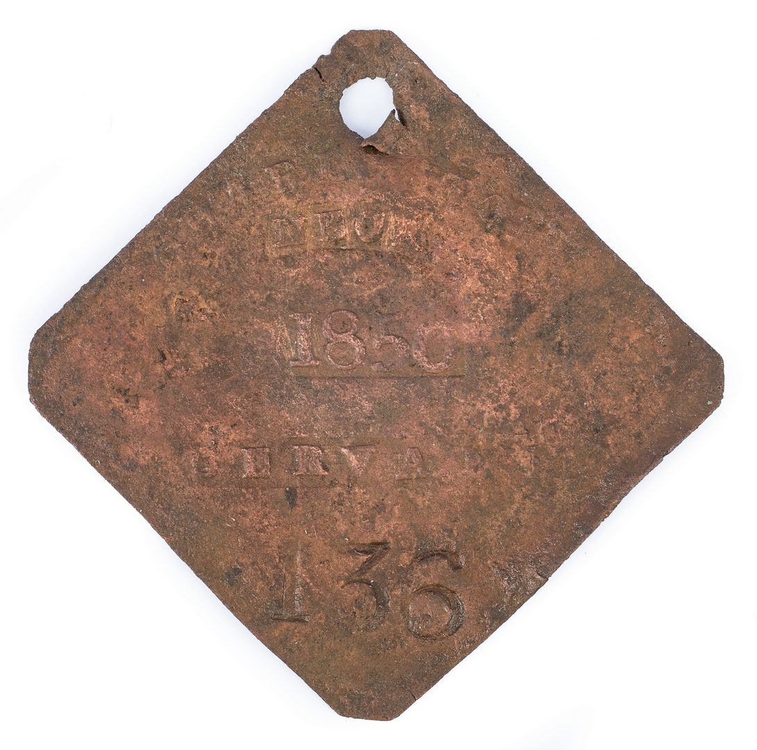 Lot 337: 1850 Charleston Servant Slave Hire Neck Badge, Number 136