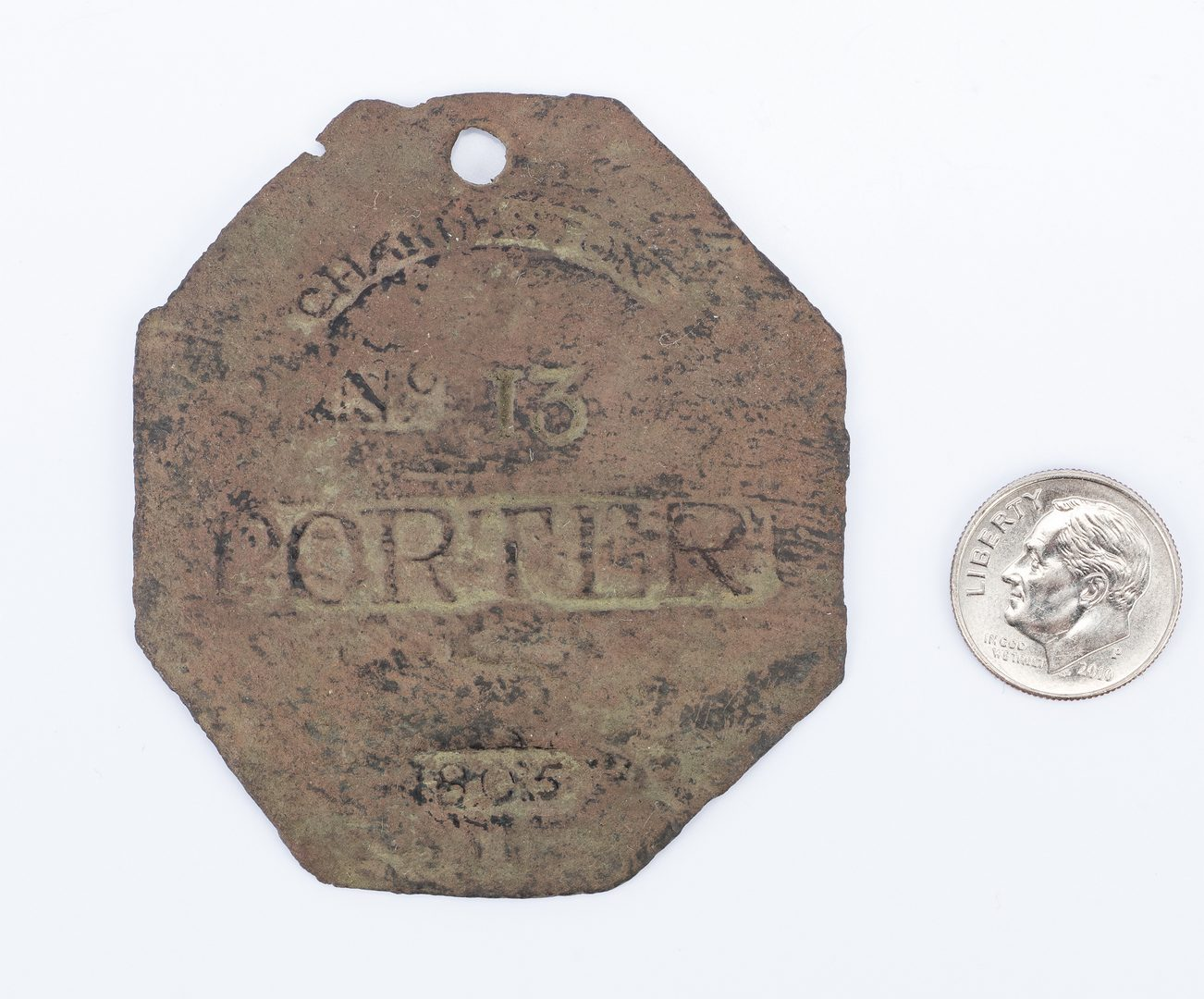 Lot 339: 1805 Charleston C. Prince Porter Slave Hire Badge, Number 13