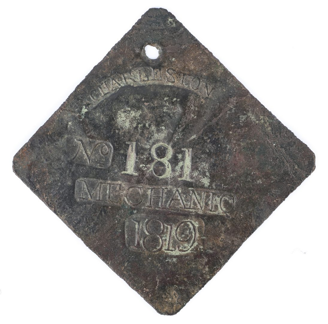 Lot 341: 1819 Charleston Lafar Mechanic Slave Hire Badge, Number 181