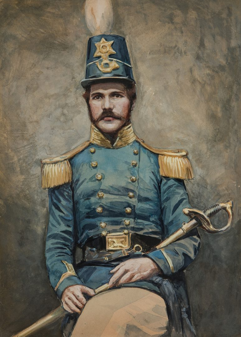 Lot 344: Watercolor Portrait, 14th Brooklyn Chasseurs