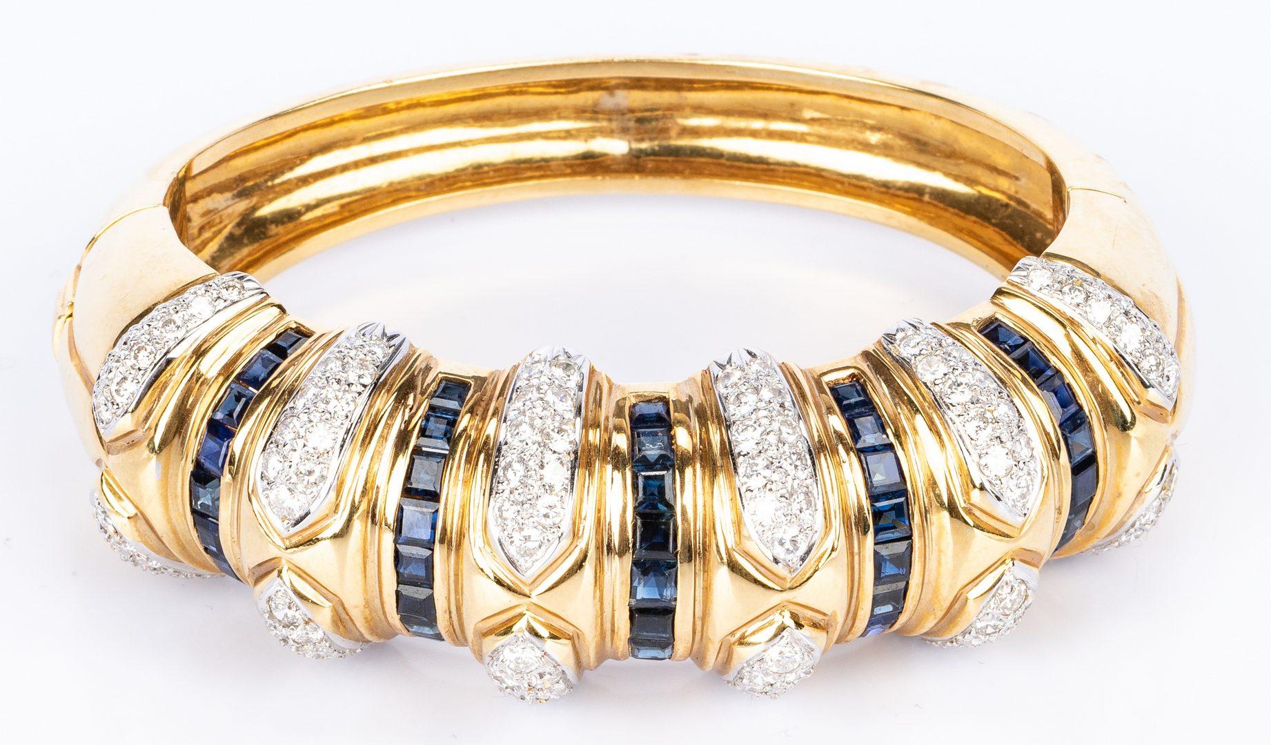 Lot 34: 18K Sapphire Diamond Fashion Bangle Bracelet