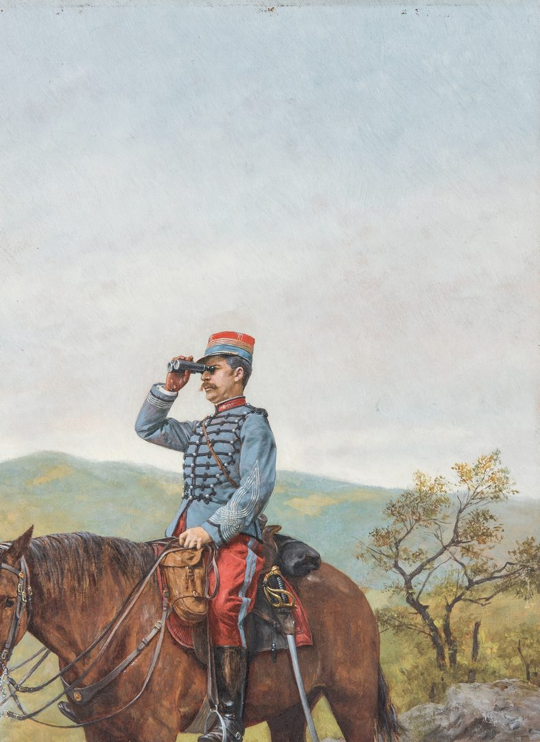 Lot 353: E. Berne-Bellecour Military Oil, Orientation – Commandant de Chasseurs a Cheval