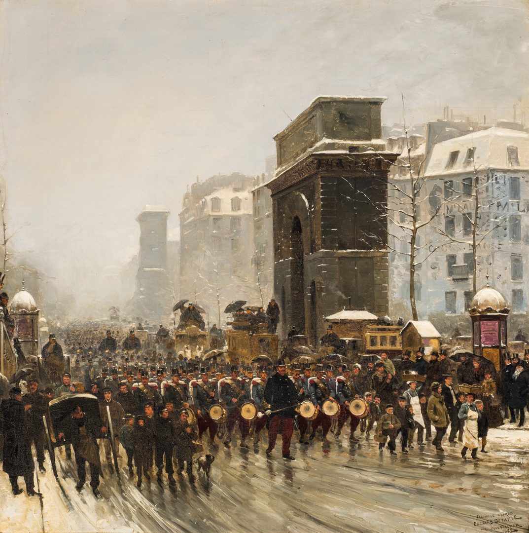 Lot 355: Paul G. Fischer Oil, Military Parade