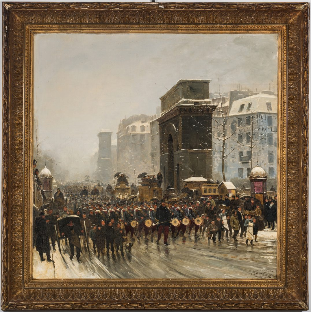 Lot 355: Paul G. Fischer Oil, Military Parade