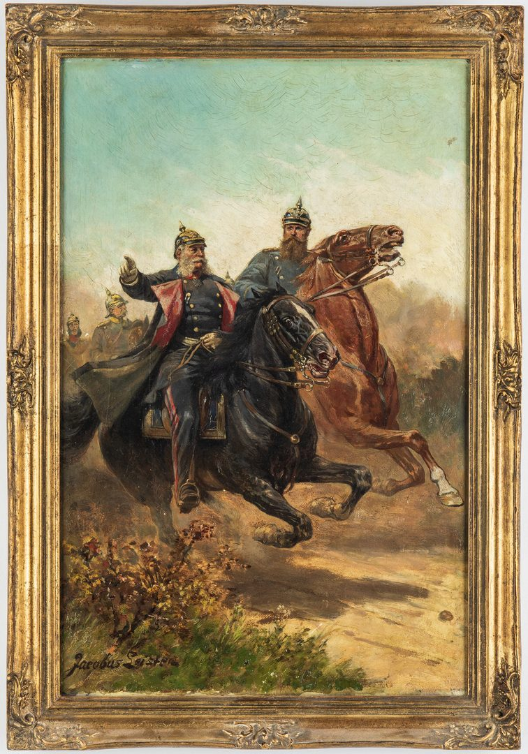 Lot 356: Jacobus Leisten O/B, Prussian Officers on Horseback