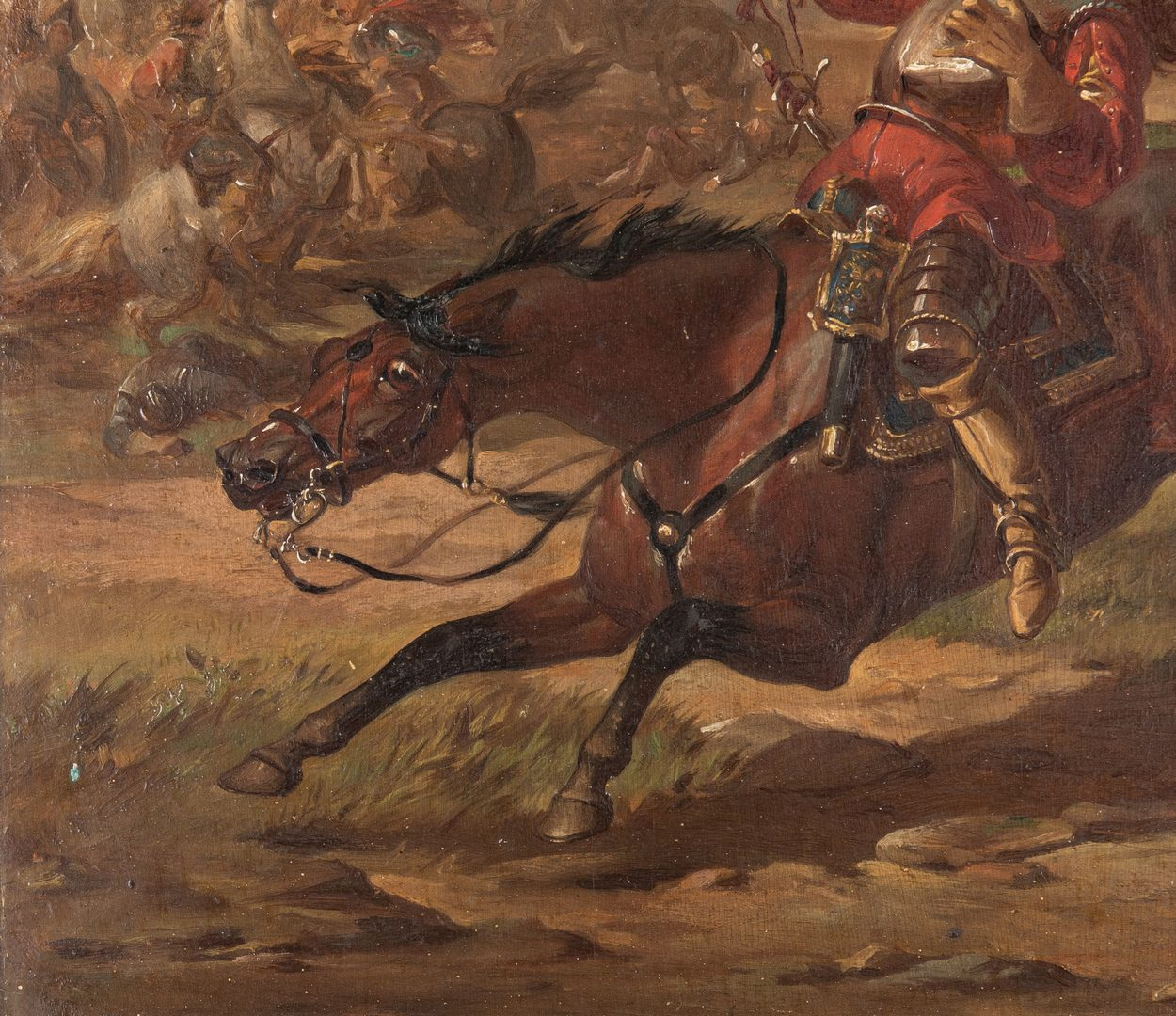 "Lot 357: English School Painting, ""Wounded in Battle"""