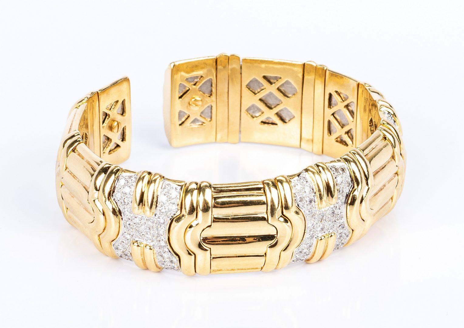 Lot 35: 18K Diamond Cuff Bracelet