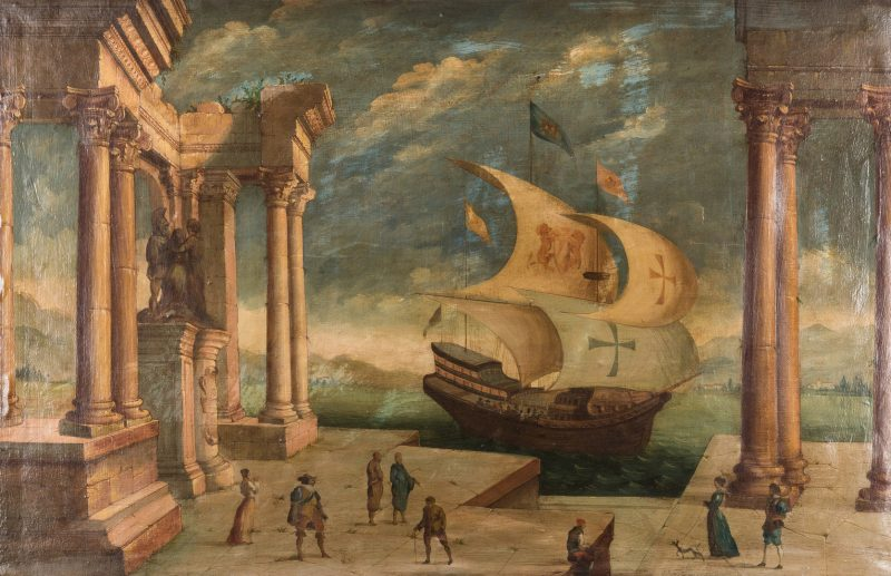 Lot 362: Continental O/C, Venetian Harbor Scene
