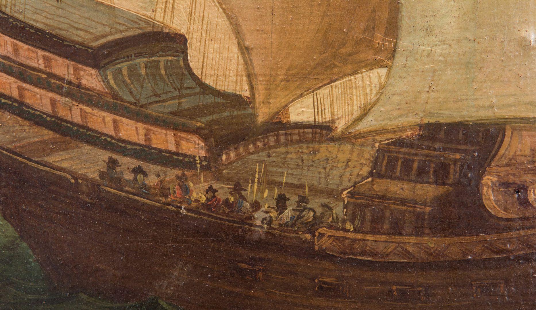 Lot 362: Continental O/C, Venetian Harbor Scene