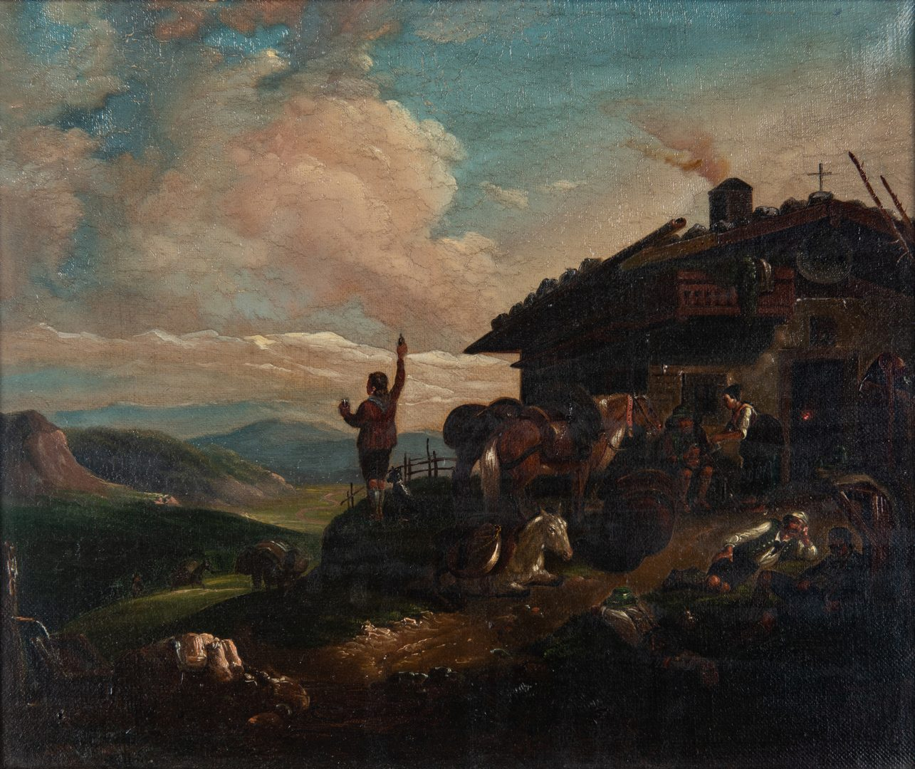 Lot 363: Tyrolian Continental Landscape with Travelers