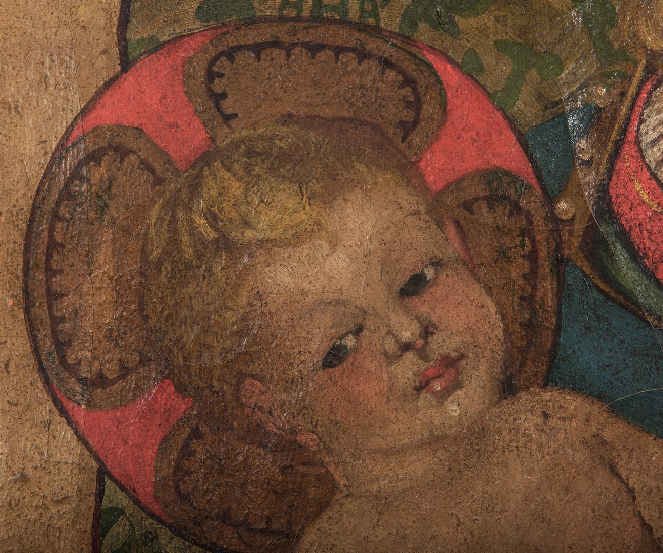 Lot 366: European School O/C, Madonna & Child, V. Cortes