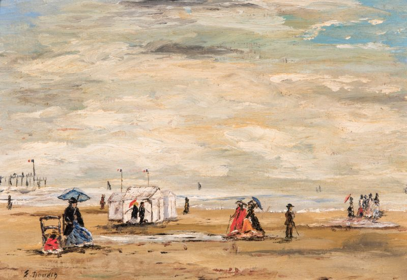 Lot 369: Manner of E. Boudin, O/B Beach Scene