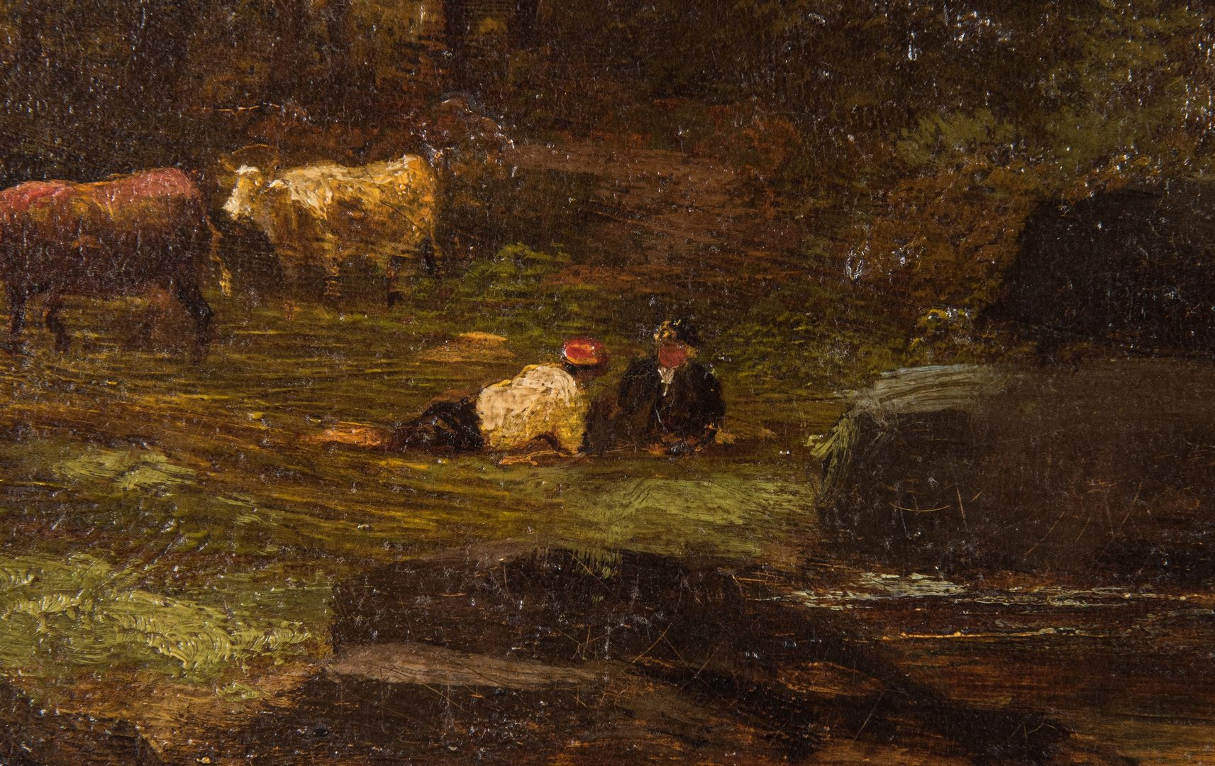 Lot 370: 19th Cent. English  O/C Landscape with Cattle