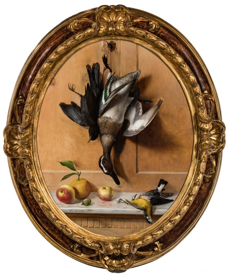 Lot 373: Oreste Costa, Oval Trompe L'Oeil Still life with Birds