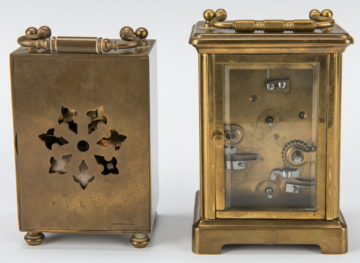 Lot 380: 2 Brass Carriage Clocks with Alarms
