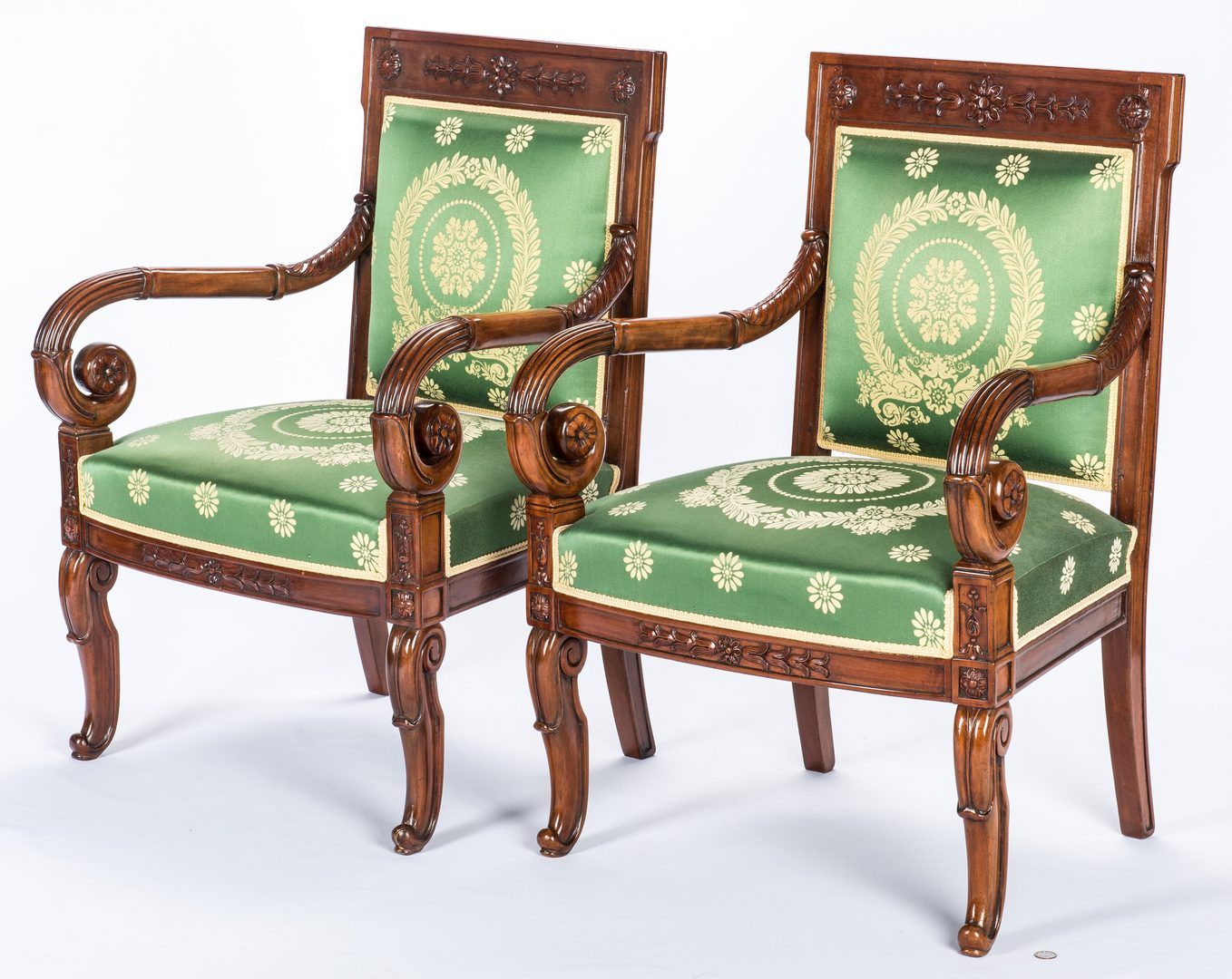 Lot 382: Pair Signed French Neoclassical Arm Chairs, COUDURIER