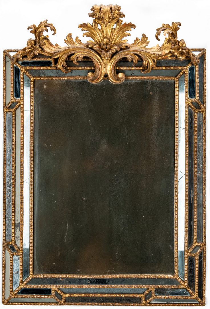 Lot 383: 19th Century Carved Giltwood Venetian Mirror