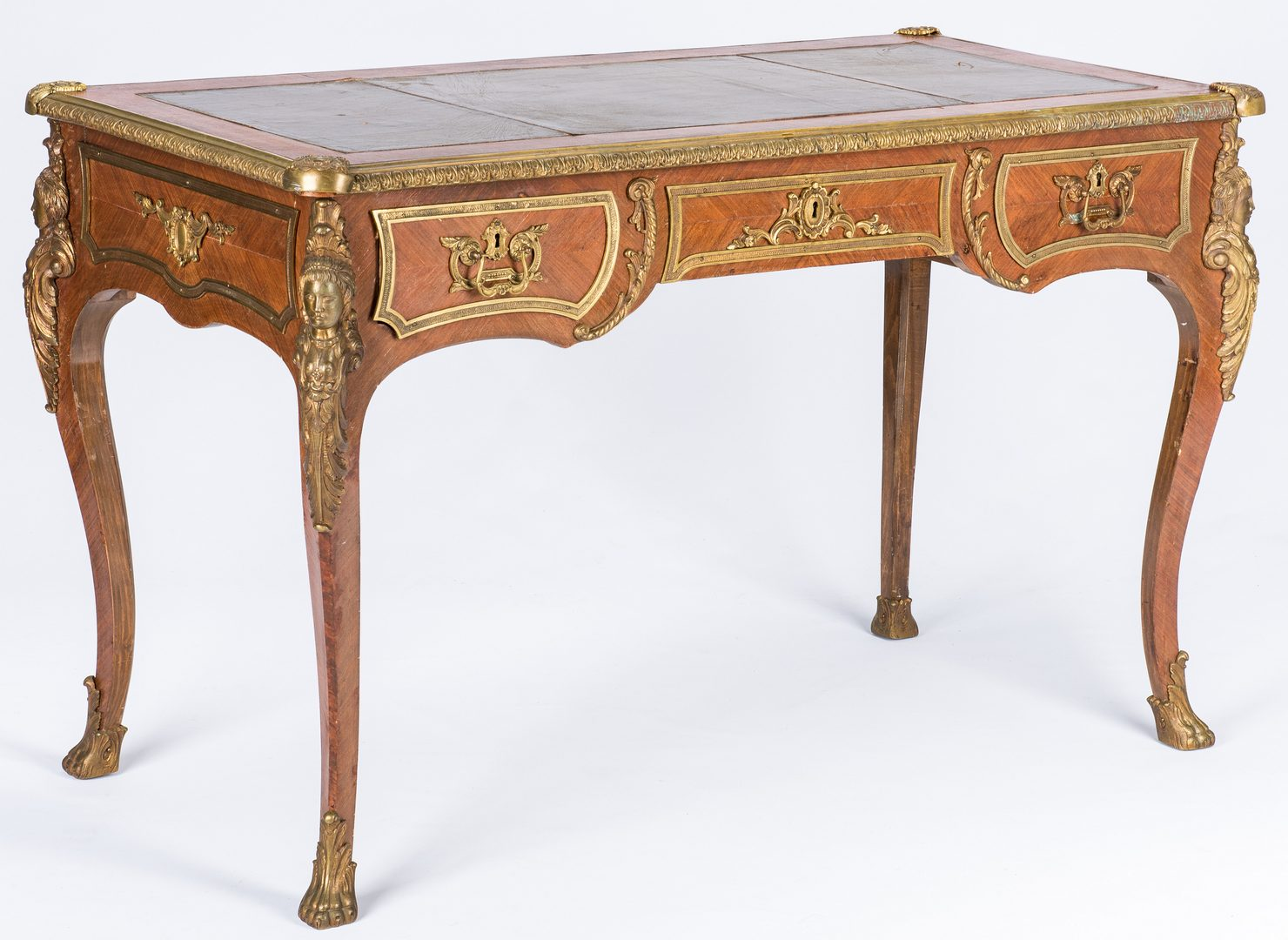 Lot 386: Louis XV Style Bureau Plat Desk w/ Bronze Mounts