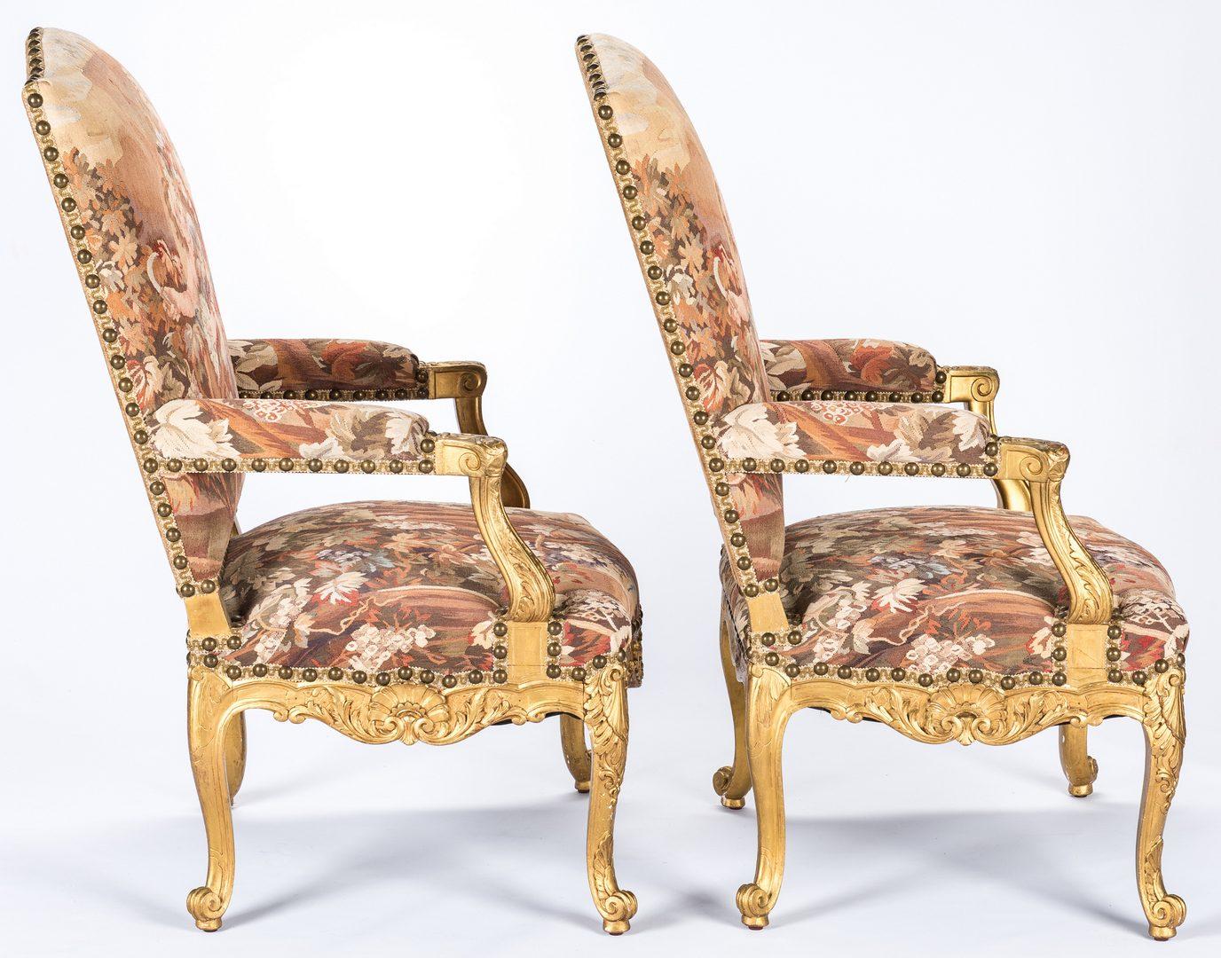 Lot 387: Pair Gilt Louis XV Style Fauteuils