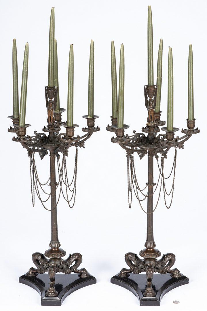 Lot 390: Pr. Egyptian Revival Style Candelabra