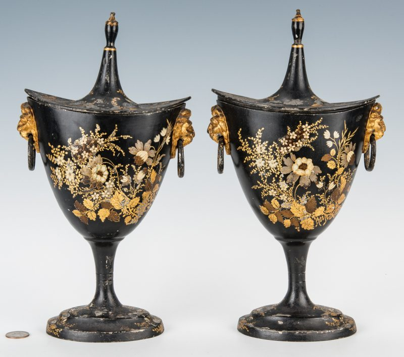 Lot 392: Pr. English Regency Tole Chestnut Urns