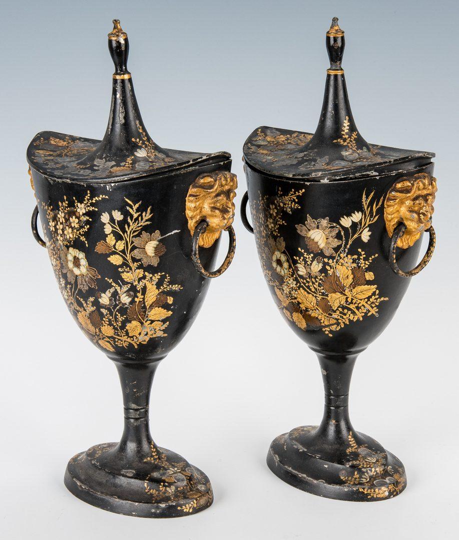 Lot 392: Pr. English Regency Tole Chestnut Urns
