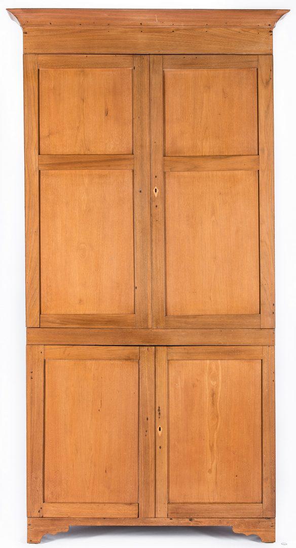 Lot 397: Middle TN Butternut Corner Cupboard