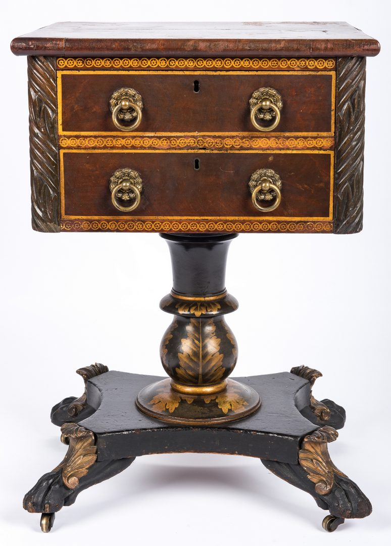 Lot 402: Classical Stenciled Work Table, attr. New York
