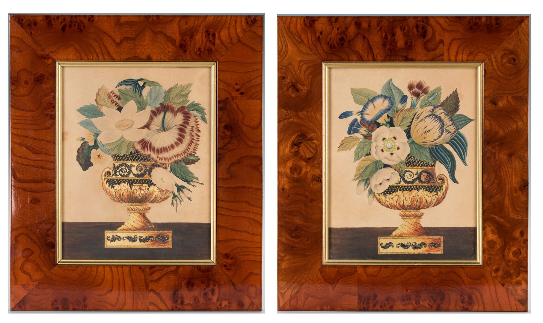 Lot 406: Pair Gilt-Embellished Watercolor Theorems, c. 1850