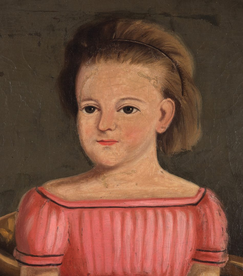 Lot 407: American O/C Folk Art Portrait of Young Girl
