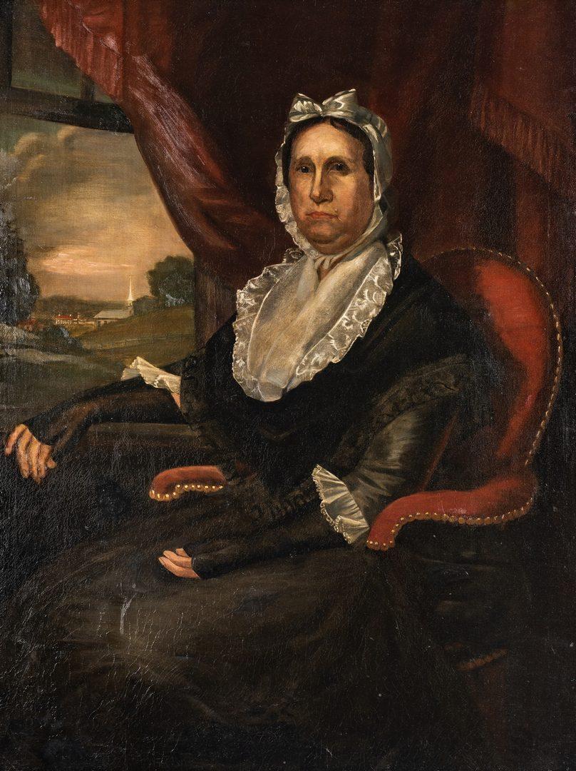 Lot 408: Attr. Ralph Earl, Portrait of Tamar Boardman Taylor