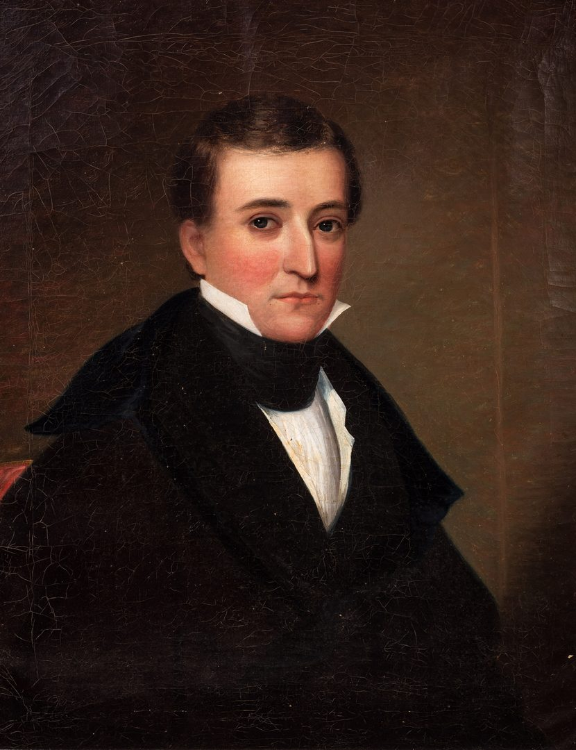 Lot 410: 19th C. Portrait of a Gentleman, Boyd-Clapp family