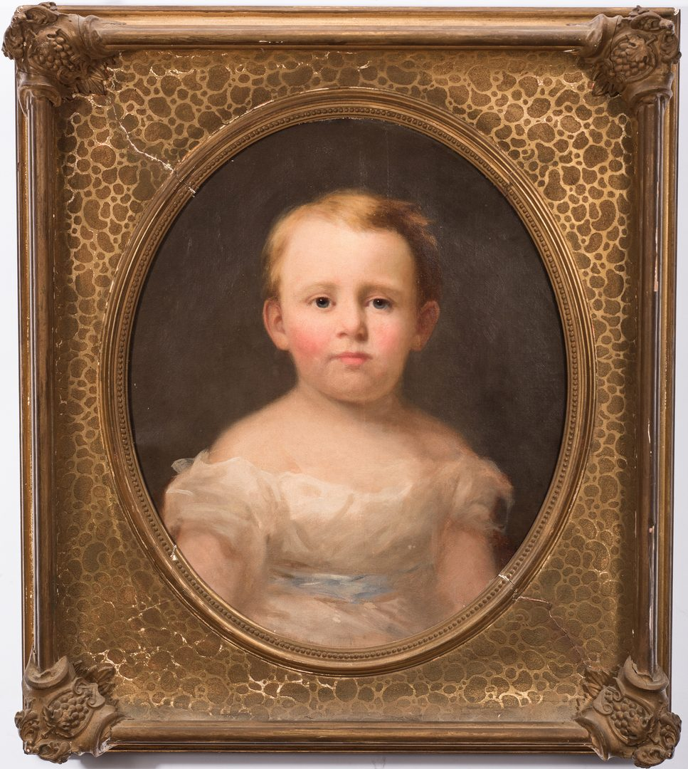 Lot 411: 19th Cent. American Portrait of a Child