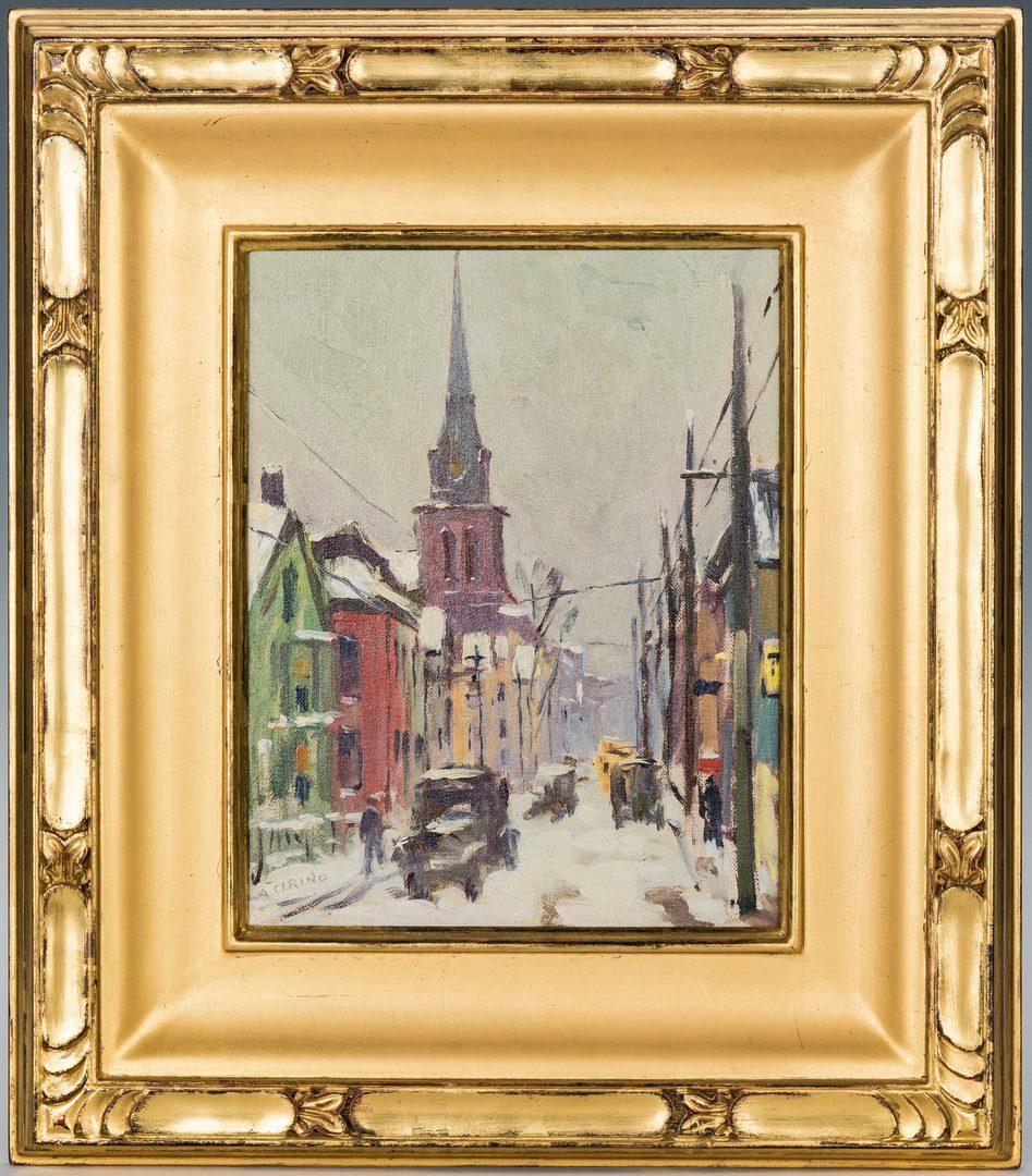 Lot 414: Antonio Cirino O/B, Winter Streetscape