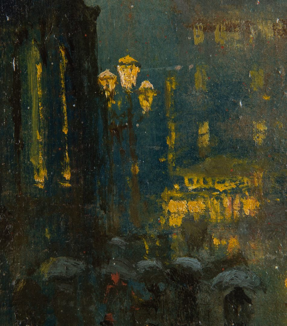 Lot 416: Arthur Diehl Oil on Panel, Cathedral at Night
