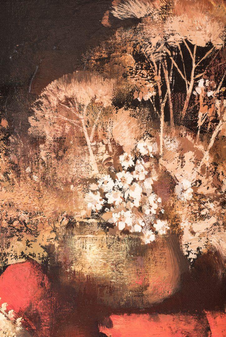 """Lot 419: Tom Nicholas O/C, """"Brass, Porcelain and Brocade"""" Still Life"""