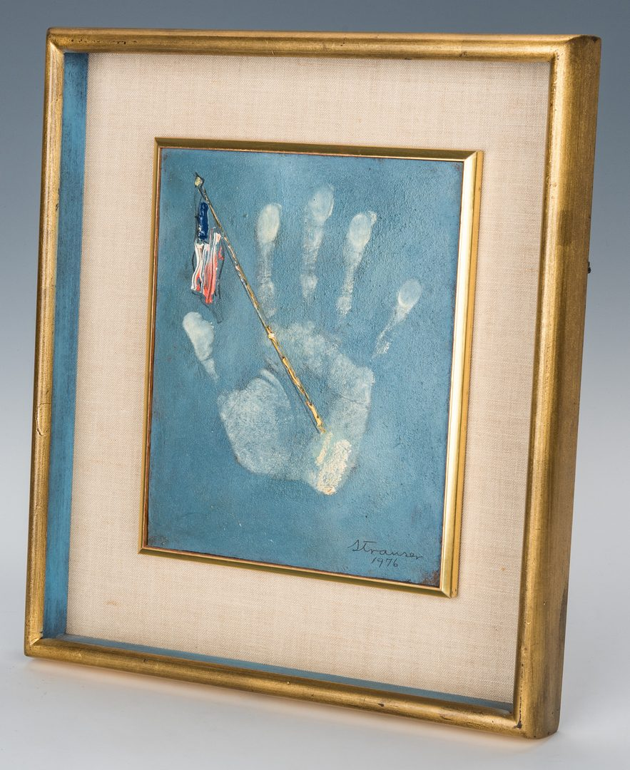 Lot 422: Sterling Strauser O/B, Flag Painting, US Bicentennial
