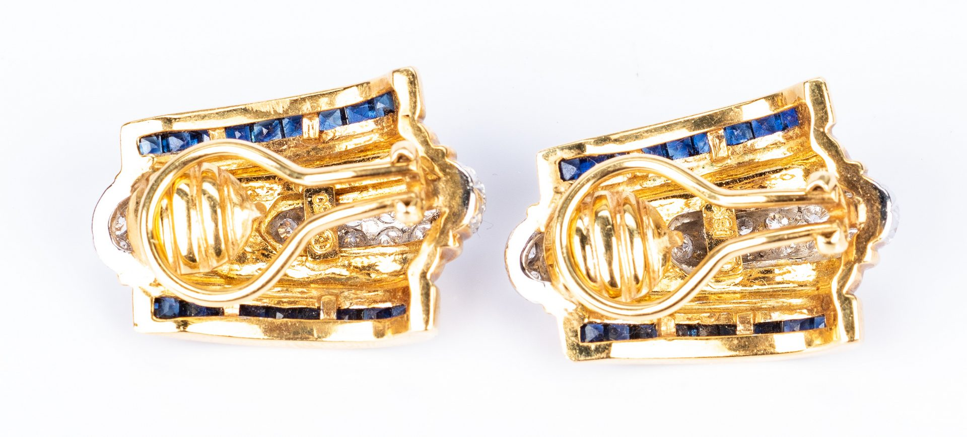 Lot 432: 18K Fashion Sapphire Diamond Earrings