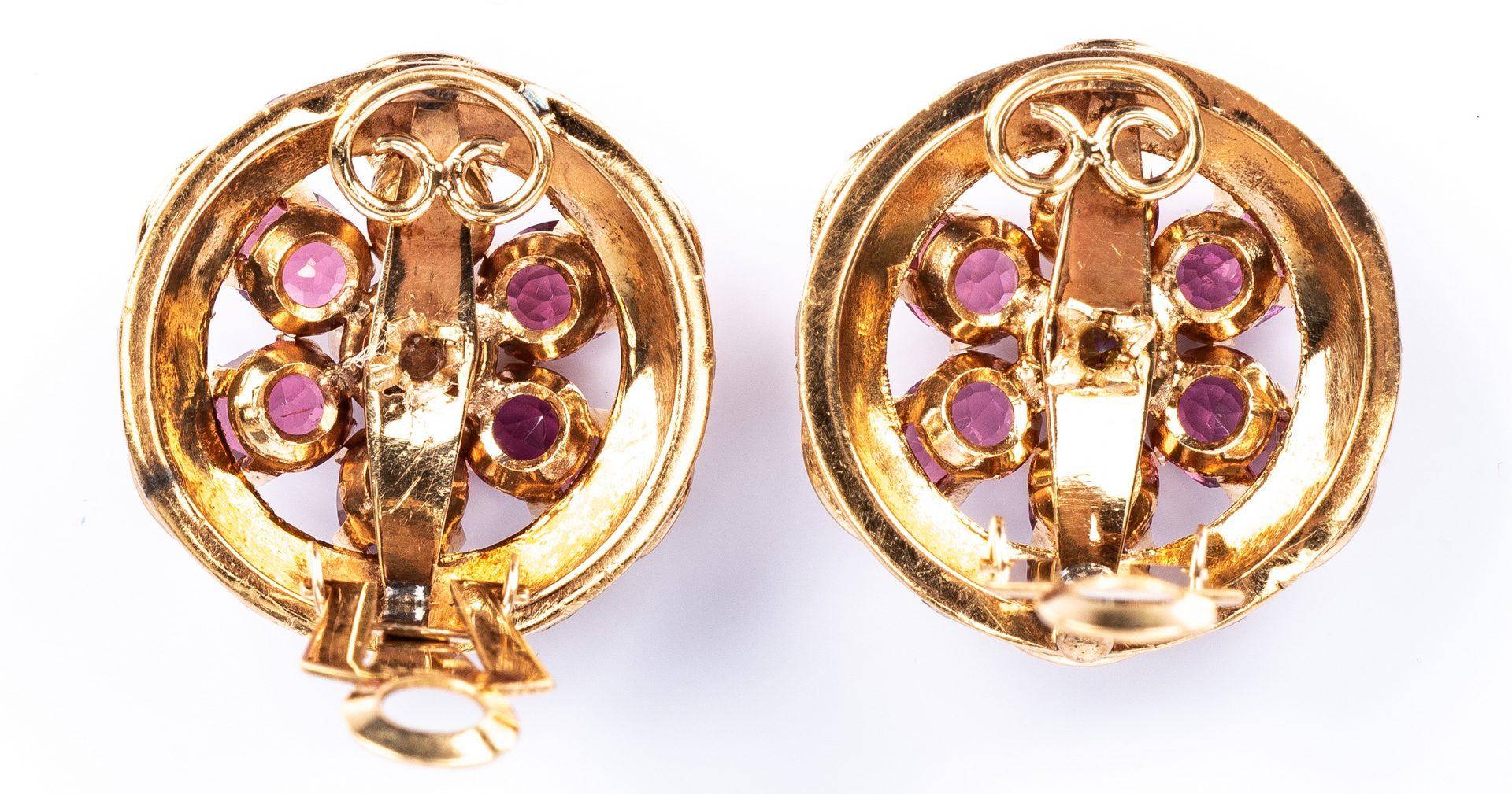 Lot 433: 18K Diamond Rhodolite Earrings