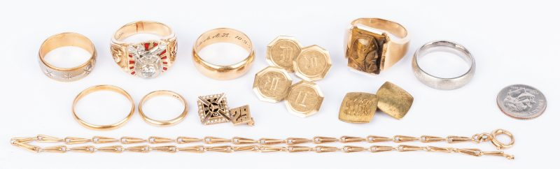 Lot 436: Group of 11 pcs 14K gold Jewelry, incl. Masonic