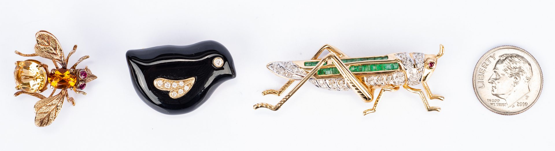 Lot 438: 3 Gemstone Insect and Bird Pins