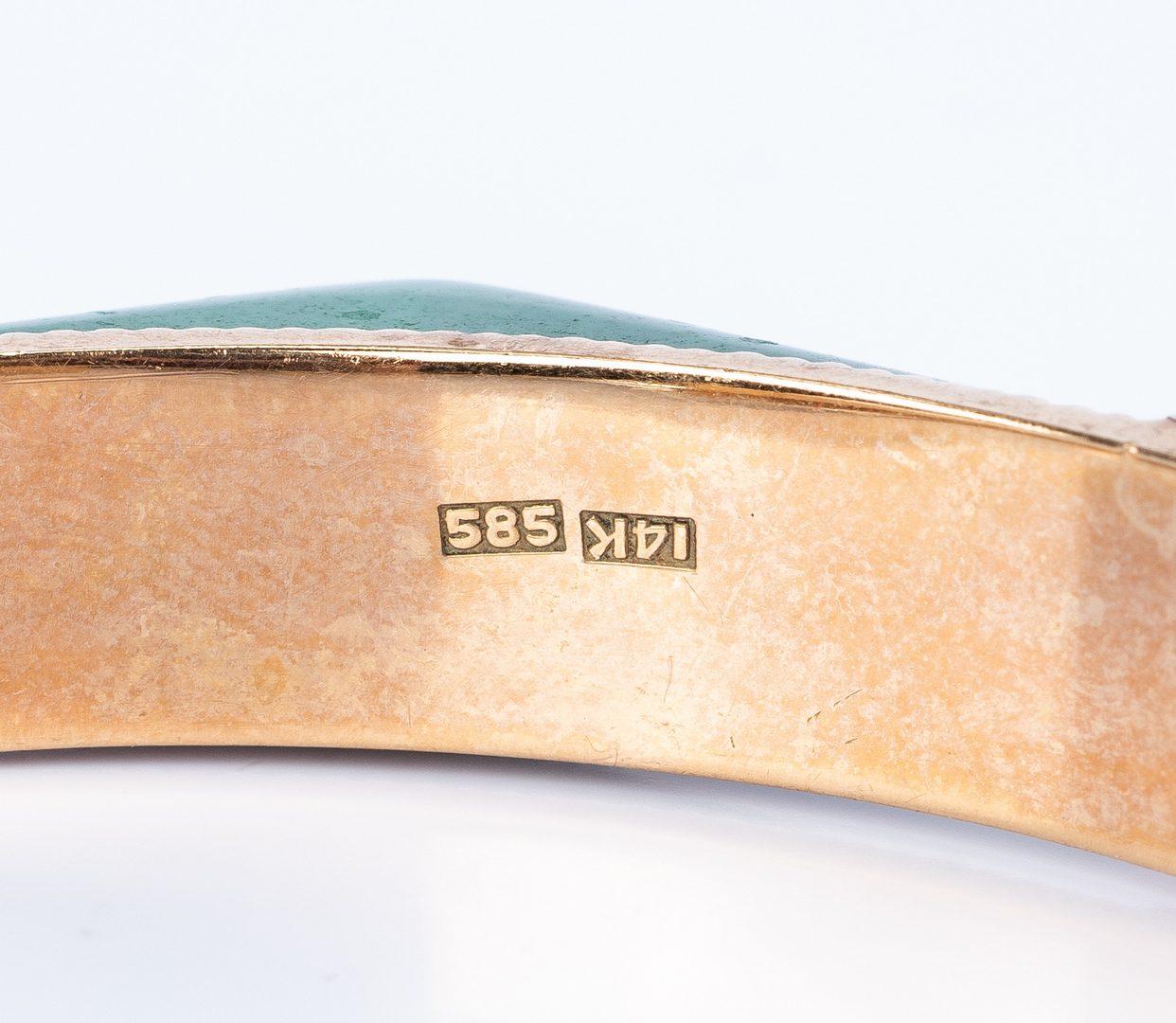 Lot 439: Group 14K Bangles incl. Malachite Bracelet