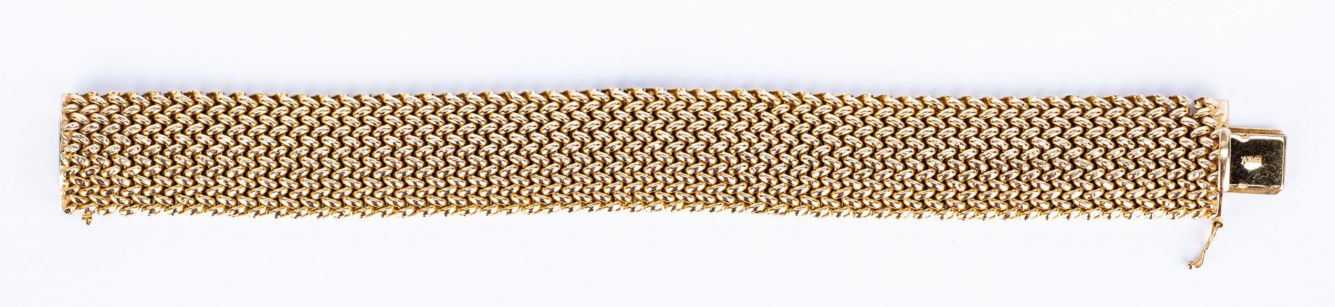 Lot 442: Italian 14K Wide Woven Bracelet, 38.5 grams