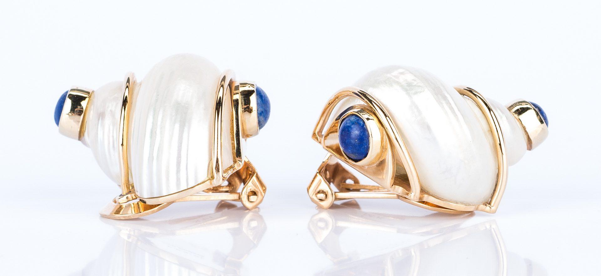 Lot 446: Seaman Schepps Gold Shell Gemstone Earrings